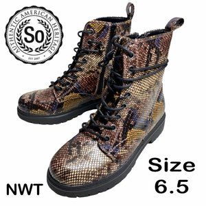 NWT - SO® Bowfin Women's Combat Boots - Color SNAKE - Size 6.5